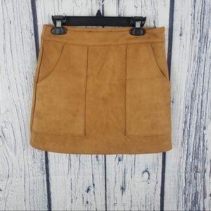 NWOT Lulus Suede Tan Mini Skirt Size XS